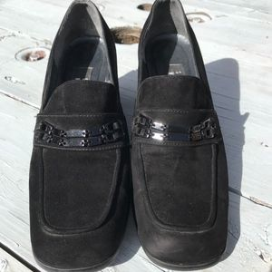 Stuart Weitzman Black Suede Heeled Loafers